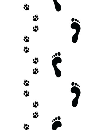Prints of human feet and dog paws,seamless pattern