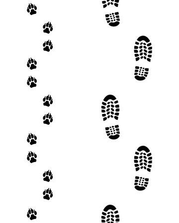 Prints of human feet and dog paws,seamless vector