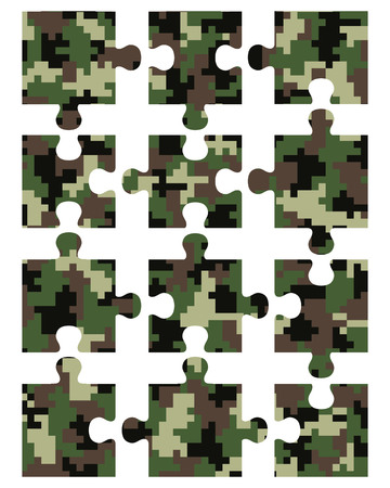 fissure: Puzzle camouflage seamless pattern, separate pieces