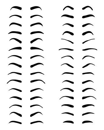 Tipos y formas de las cejas, diseño del tatuaje, vector