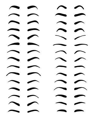 eyebrows: Types and forms of eyebrows, tattoo design, vector