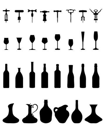 silhouettes noires de bols, bouteilles, verres et tire-bouchon, vecteur
