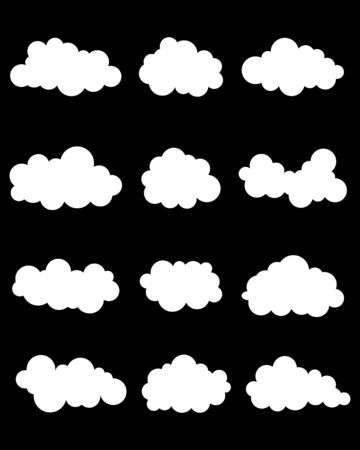 various: Set of various white clouds on black background
