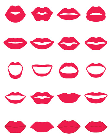 nude black woman: Set of red lips on a white background, vector