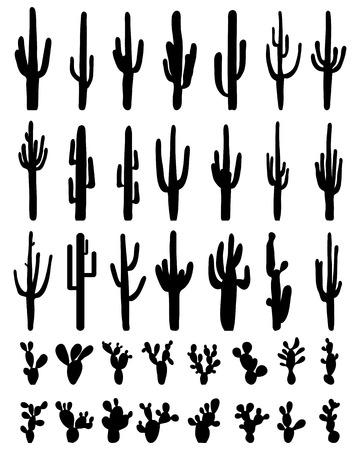 Sagome nere di diversi cactus su uno sfondo bianco, vettore Archivio Fotografico - 63114160