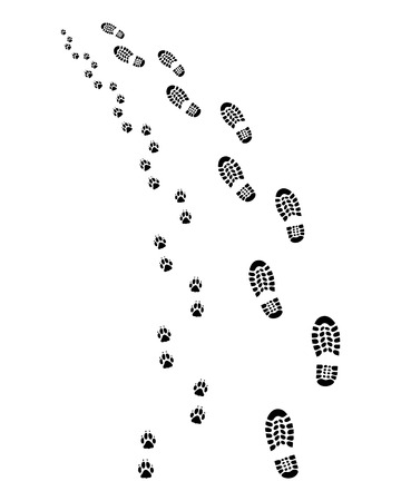 Footprints of man and dog, turn left, vector Vetores