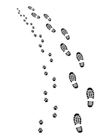 huellas de perro: Huellas del hombre y el perro, gire a la izquierda, vector Vectores
