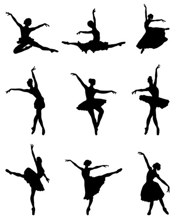 stage costume: Black silhouettes of ballerinas, vector