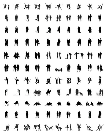 guy with walking stick: Black silhouettes of couples, vector Illustration