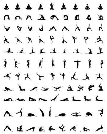 Black silhouettes of yoga and fitness, vector Stock Illustratie