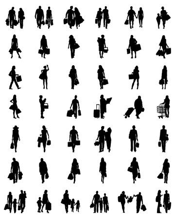 Schwarze Silhouetten von Menschen in der Shopping, Vektor Vektorgrafik