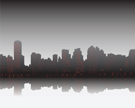 black shadows: Black silhouette and shadows of city on sunset, vector illustration Illustration