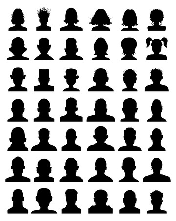 woman male: Black silhouettes of avatar portrait, vector