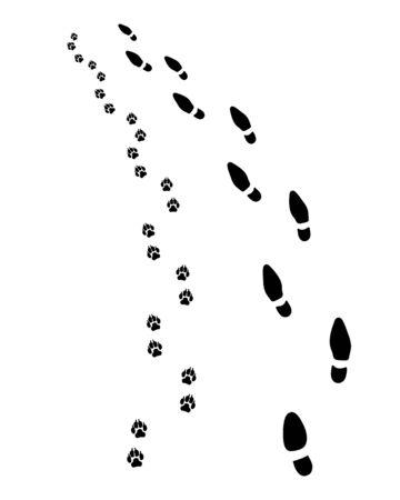 Huellas de hombre y perro, gire a la izquierda, vector Ilustración de vector