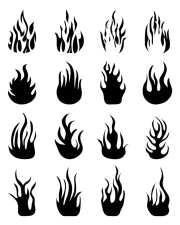 Black silhouettes of fire flames, set icons