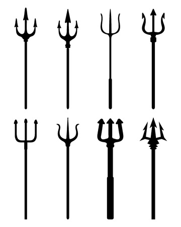 Set of black silhouettes of different trident