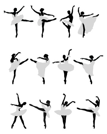 Silhouettes of ballerinas on a white background Illustration