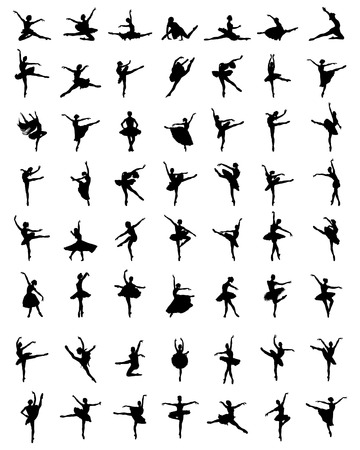 Black silhouettes of ballerinas on a white background 矢量图像