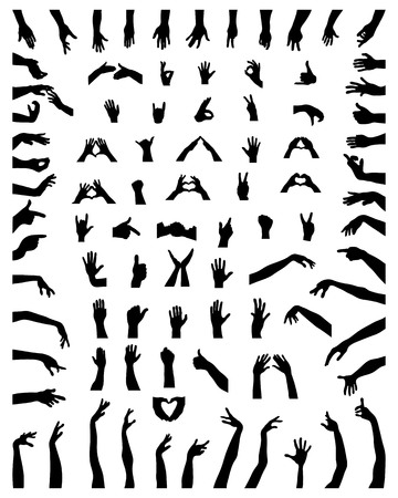 Black silhouettes of hands on a white background