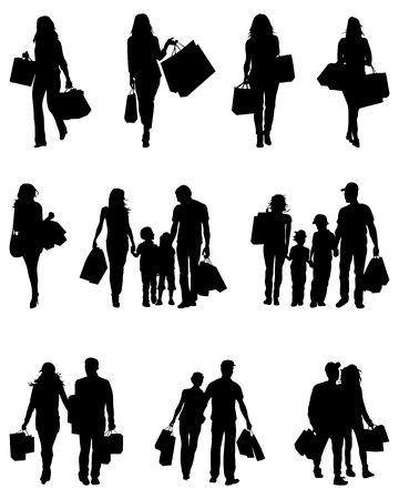 Black silhouettes of shopping