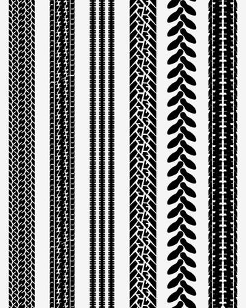 Black prints of tire cars, vector illustration, seamless pattern Illusztráció