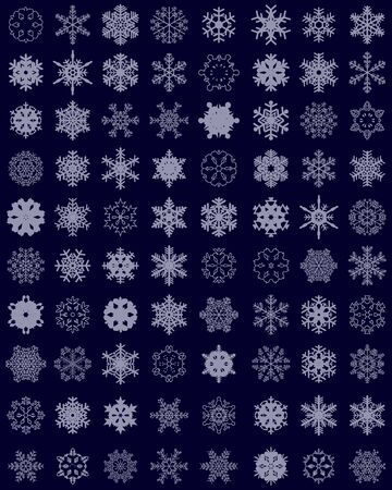Set of different snowflakes on colored backdrop.