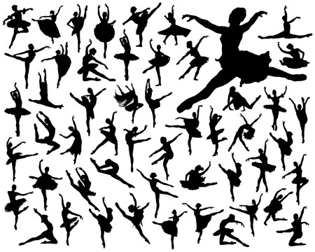 Black silhouettes of ballerinas seamless pattern