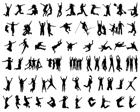 Silhouettes of people jumping on a white background Ilustração