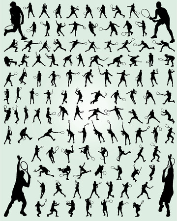 Black silhouettes of tennis players on a green background Illustration