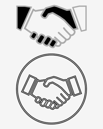 Business handshake solid icon, contract and agreement, vector graphics. Illusztráció