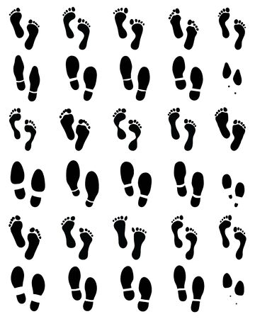 Black prints of human feet and shoes on a white background