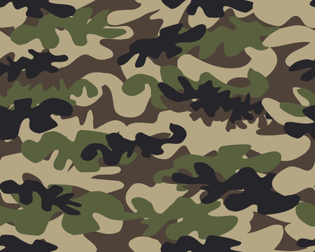 Camouflage pattern background seamless vector illustration. Military fashionable abstract geometric texture. Vetores