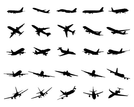 Siluetas negras de aviones sobre un fondo blanco.