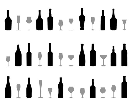 Black silhouettes of glasses and bottles of wine