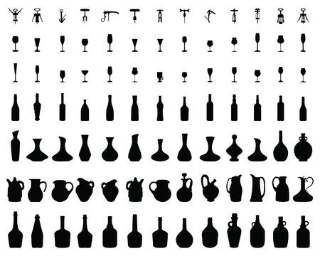 Black silhouettes of bottles, glasses and corkscrew, vector Ilustrace