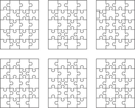 Vektorillustration von sechs verschiedenen weißen Puzzles, getrennten Stücken Vektorgrafik