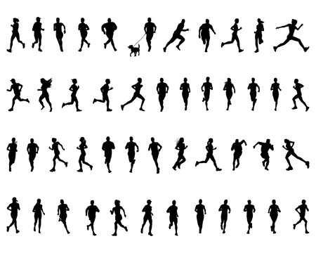 Black silhouettes of running on a white background