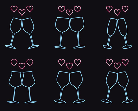 Set of wine glasses and heart icons, love symbol Ilustração