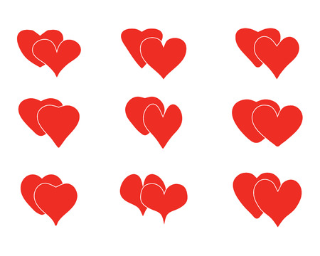 Set of heart icons on a white background, love symbol