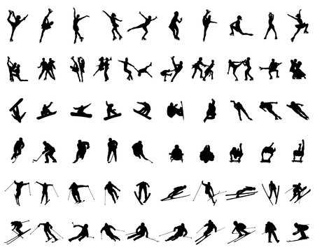 Set of silhouettes of winter sports on a white background Ilustracja