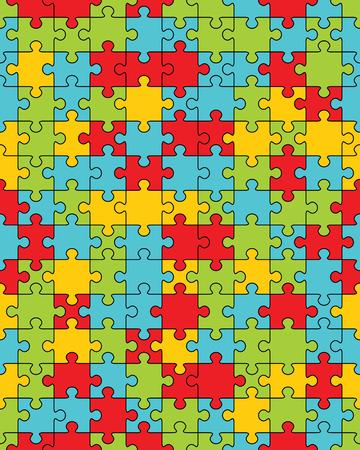 Pezzi separati di puzzle colorato, illustrazione senza soluzione di continuità Vettoriali