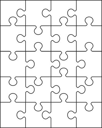 Illustration of separate parts of white puzzle Ilustração