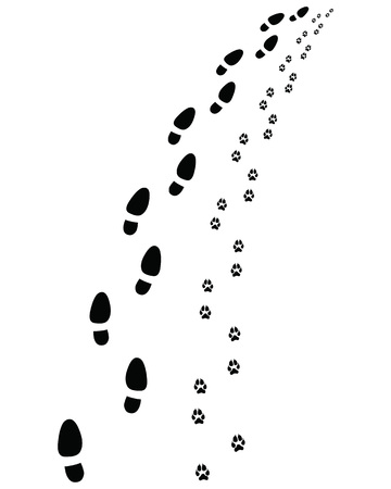 :Footprints of man and dog, turn left or right