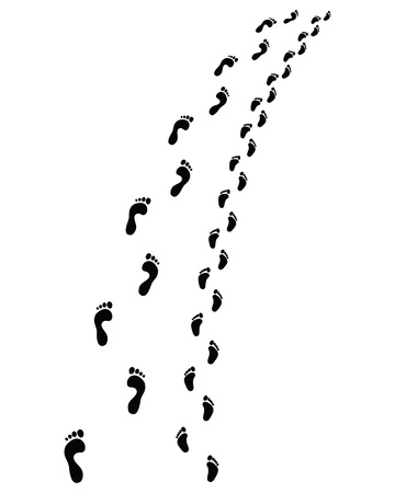 Trail of human and baby bare feet, turn left or right