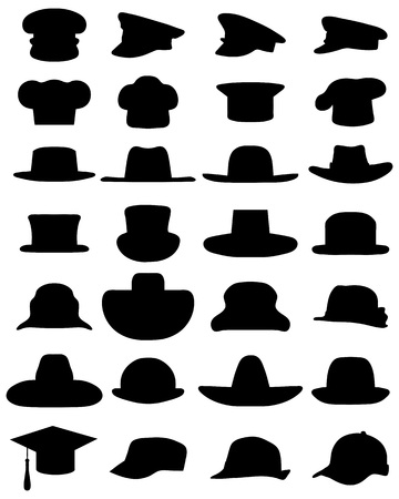 Black silhouettes of various caps and hats on a white background