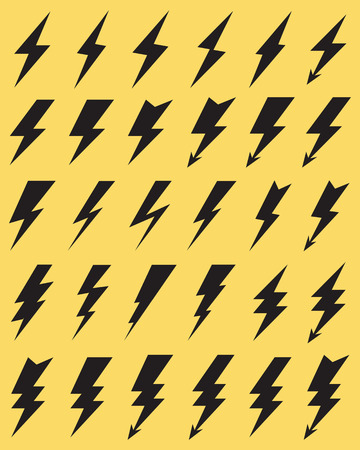 Black icons of thunder lighting on the yellow background