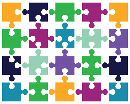 Vector illustration of colorful puzzle, separate pieces