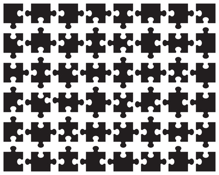 Illustration of separate parts of black puzzle on a white background