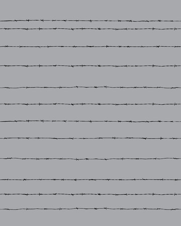 Black silhouette of the barbed wire on a gray background, seamless