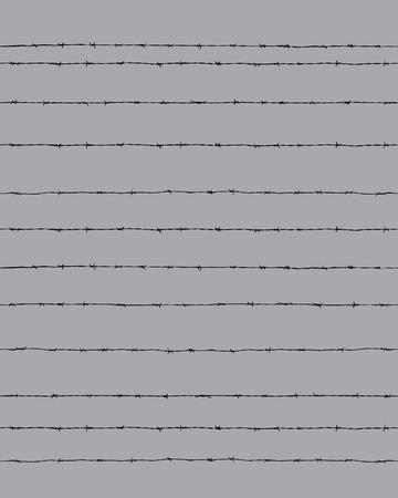 Sagoma nera del filo spinato su sfondo grigio, senza soluzione di continuità Vettoriali